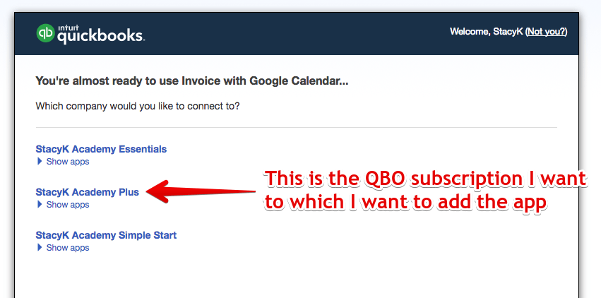 Invoice with Google Calendar - Choose QBO Sub