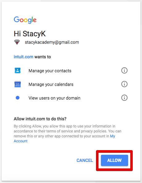 invoice with google calendar allow access