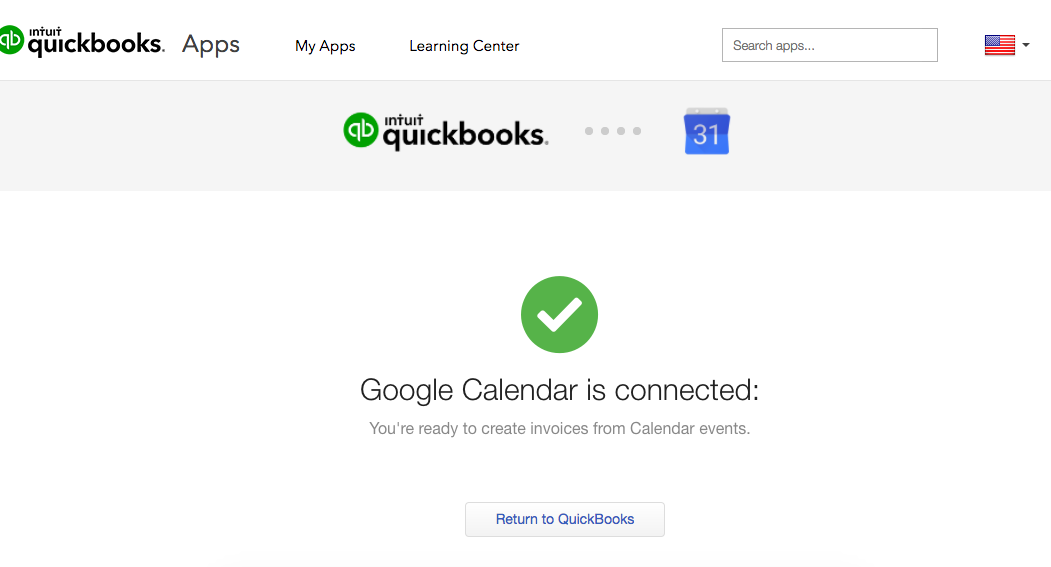 Invoice with Google Calendar - Return to QBO