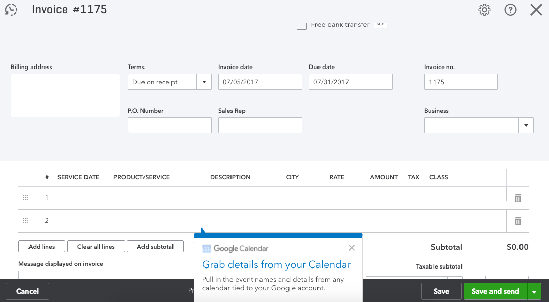 Invoice with google calendar app stacyk for Invoice with google calendar