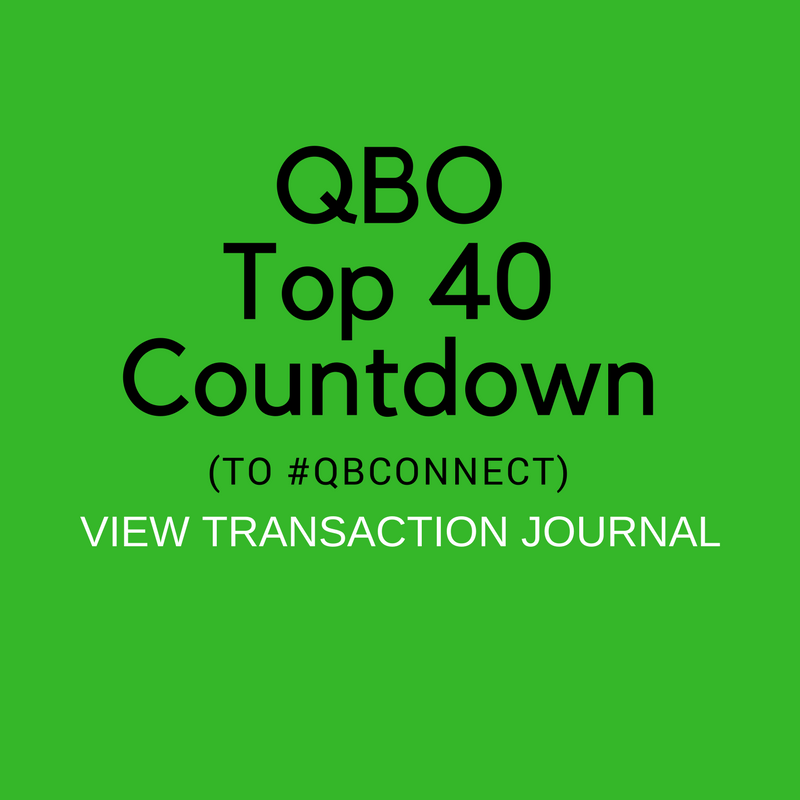 QBO Top 40 Countdown (to #QBConnect) View Transaction Journal